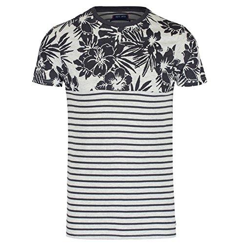 Brave Soul Roots Hawaiano & A Righe T Shirt Uomo Maniche Corte Maglia Girocollo - cotone, Carbone, 98% cotone 2% viscosa, Uomo, XL - torace 107-112cm