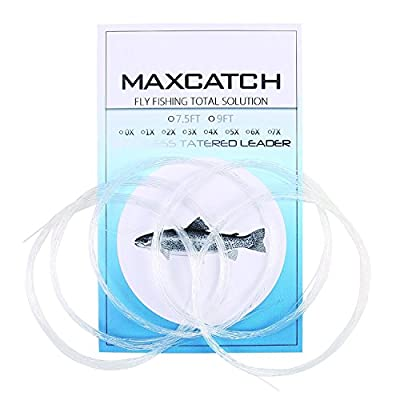 Maxcatch Fly Fishing Tapered Leader Line 9ft &7.5ft, 5 PCS (0X-7X) by Maxcatch