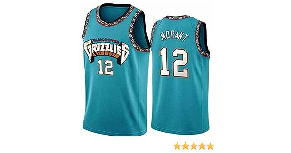 ATI-HSKJ M/änner Basketball-Trikots Memphis Grizzlies 12# Ja Morant Sport Tops Basketball Westen Schnelltrocknende /Ärmel Jersey Blau BH377,L:175cm~180cm