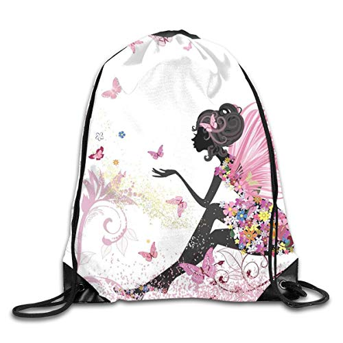 HLKPE Drawstring Backpacks Bags Daypacks,Abstract Silhouette of A Girl with Pink Wings and A Floral Dress Spring Fairy,5 Liter Capacity Adjustable for Sport Gym Traveling (Halloween Diy Wings Fairy)