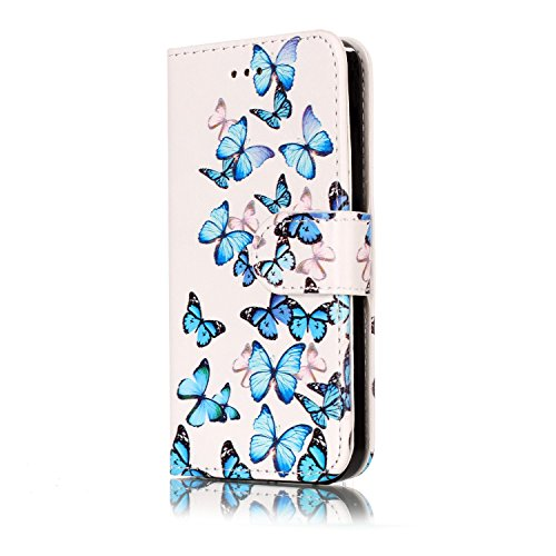 Custodia iphone 6 Antiurto,Cover iphone 6S 4.7 in Pelle,Ekakashop Moda Colorato Marmo Pattern Vintage Cellulare Cover Shockproof Completa Protettivo Caso Cover Custodia per iphone 6 6S 4.7 pollici co Piccola Farfalla Blu