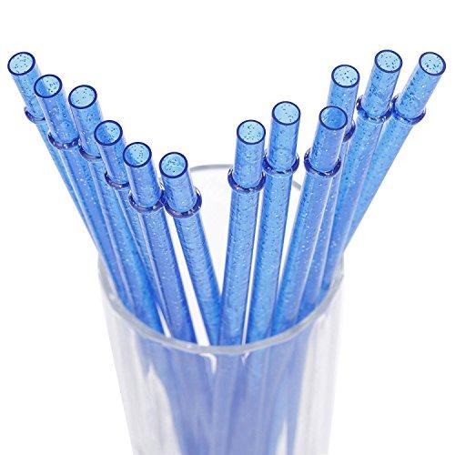 Dakoufish Wiederverwendbare Strohhalme/Trinkhalme, 12Stück, 27,9cm Länge, Klar, Acryl mit Glitzer, verschiedenen Farben, mit einer Reinigungsbürste 28 cm blau
