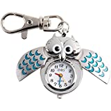 Yesurprise Silver Pendant Pocket Key Ring Cool Blue Owl Quartz Watch