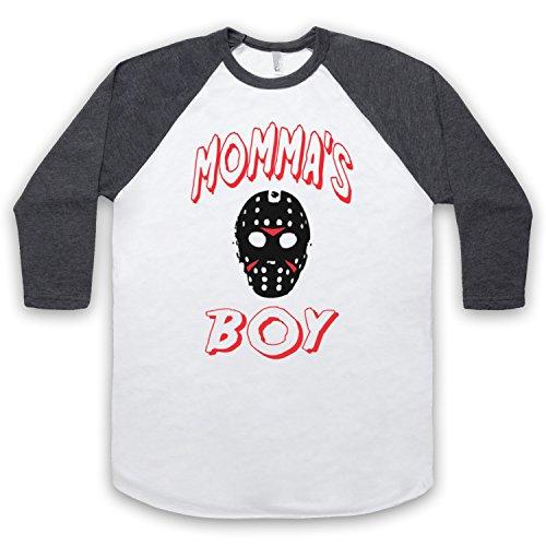 Inspiriert durch Friday The 13th Jason Inoffiziell 3/4 Hulse Retro Baseball T-Shirt Weis & Dunkelgrau
