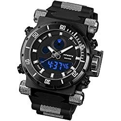 INFANTRY® Mens Analogue - Digital Wrist Watch Chronograph Night Vision Military Black Rubber Strap