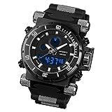 Infantry IN-050-BLK-R Herren Analog-Digital Armbanduhr Schwarz Sportuhr Outdoor Stoppuhr Datum Alarm Kautschuk Armband
