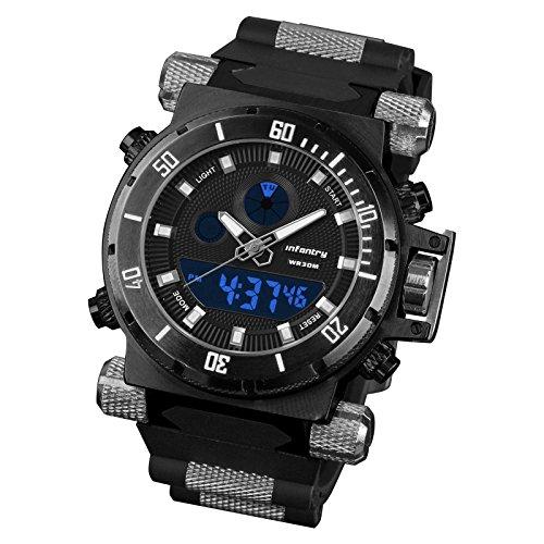Infantry Herrenuhr Digital Armbanduhr Männer Uhren Militär Outdoor Uhr Digitaluhr Herren Schwarze Mit Kautschuk Armband -