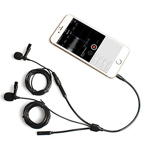 MAONO Lavalier Mikrofon mit Kopfhörer-Splitter Überwachung Eingang Wechselrahmen Interview Revers Mikrofon für iPhone, Samsung, Android, Smartphone, iPad, Tablets, Laptop Macbook, Computer, Youtube