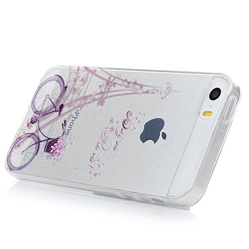 iPhone 5/5S Hülle Kasos iPhone SE Case Painted TPU Silikon Handyhülle Crystal Clear Schutzhülle Tasche Back Cover Handy Schale mit Bike Tower Design Bike Tower