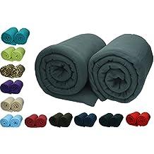 Betz 2 Stück Maxi Fleecedecke Kuscheldecke in Größe 140x190 cm Qualität 220 g/m² verschiedene Farben Farbe anthrazit