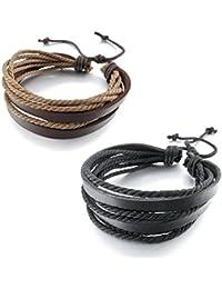 Boolavard® TM Schmuck 2pcs Brown & Black Wrap Charm echtes Leder-Armband mit geflochtenen Seil Unisex für Männer & Frauen