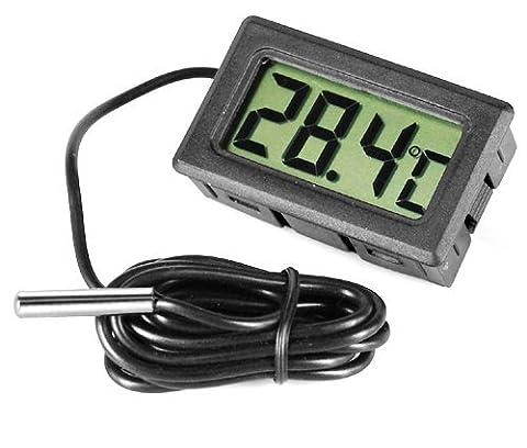 BeautyLife Gadgetpooluk Digital Fridge Freezer Thermometer Temperature Monitor, Steel, Black