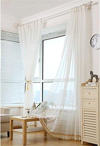 HOME UK- Un set di 2 pezzi di stile coreano filato cortina di Pure White (Filato Satin Stampe)