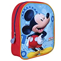Mickey Mouse Clubhouse Backpack for Kids - School Bag with Front Pocket with Mickey Mouse Print - Small Backpack for School and Kindergarten - Red and Light Blue - 23x30x10 cm - Perletti