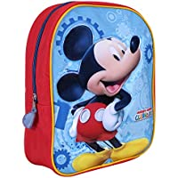 Mochila para niño Mickey Mouse - Bolso escolar con estampado Ratón Mickey - Bolsa para la escuela y la guarderia con tirantes acolchados y regulables - Rojo y Azul - 23x30x10 cm - Perletti
