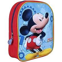 Zainetto Bambino Topolino - Zaino con stampa di Mickey Mouse - Cartella scolastica per l'asilo e la scuola con spallacci imbottiti regolabili - 23x30x10 cm - Perletti