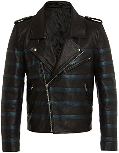 Herren Designer Mode Leder Bikerjacke, Fashion Lederjacke in Schwarz - Blau, Top Qualität, 100% Leather Jacket, Metal Zips - Studs, Men Black Rock Punk Style Leather Jackets für Männer, S M L XL XXL