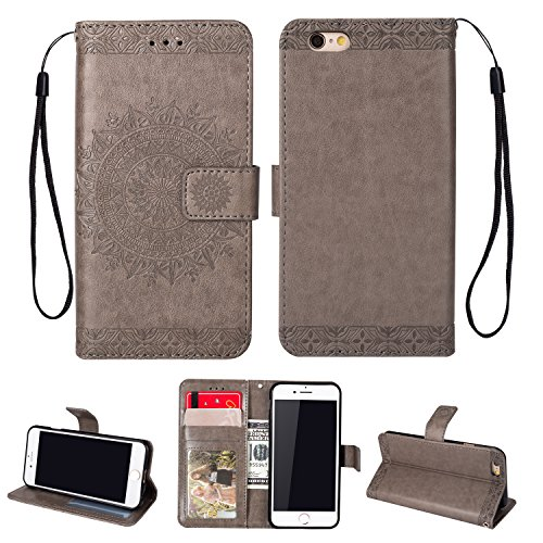 Yobby Leder Brieftasche Hülle für iPhone 6 Plus, iPhone 6S Plus Grau Handyhülle Geprägt Mandala Muster Schlank Premium PU Flipcase [Magnetverschluss] mit Kartenfach Handschlaufe Stand Schutzhülle -