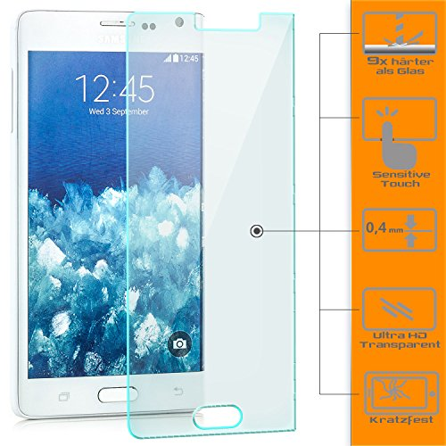 Saxonia Displayschutz Folie aus Gehärtetem Glas Samsung Galaxy Note Edge (SM-N915) Displayschutzfolie Panzerglas Glasfolie Hartglas Schutzfolie | HD Klar Transparent