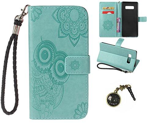 Preisvergleich Produktbild Galaxy Note 8 Wallet Case für Samsung Galaxy Note 8 Flip Hülle Laoke Eule Blumen Muster Handyhülle Schutzhülle PU Leder Case Skin Brieftasche Ledertasche Tasche im Bookstyle in +Staubstecker (10)