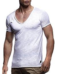 LEIF NELSON Herren T-Shirt V-Neck V-Ausschnitt Kurzarm-shirt Top Basic Shirt Crew Neck Vintage Sweatshirt Sweater LN6280-1