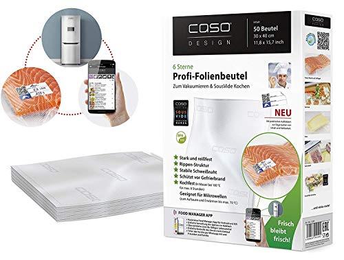 CASO Profi- Folienbeutel 30x40 cm / 50 Beutel, für alle Balken Vakuumierer, BPA-frei, sehr stark & reißfest ca. 150µm, kochfest, Sous Vide geeignet, wiederverwendbar, für Folienschweißgeräte geeignet