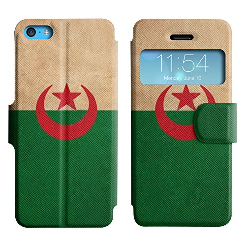 Graphic4You Vintage Uralt Flagge Von Iraker Irak Design Leder Schützende Display-Klappe Brieftasche Hülle Case Tasche Schutzhülle für Apple iPhone 5C Algerien Algerier