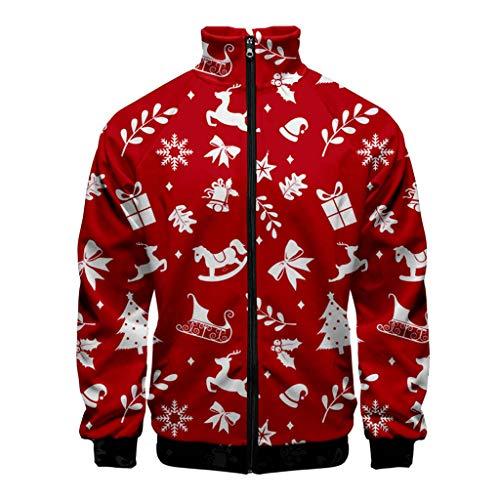 Aoogo Herren Weihnachtspullover Jacke Top Sweater Pulli Sweatshirt Weihnachtspulli Langarm-Sweaterjacke mit Weihnachts Festival-Print Baseballjacke Xmas Party Outdoor