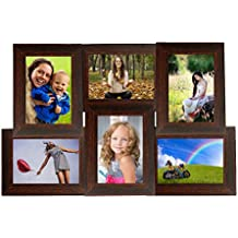 WENS 6-Picture MDF Photo Frame (20 inch x 13 inch, Brown)