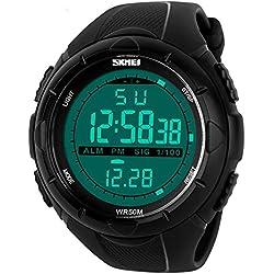 ALPS Men's Military Multifunctional Outdoor Sport Waterproof Big Numbers Big Face Digital Watch with Rubber Watchband