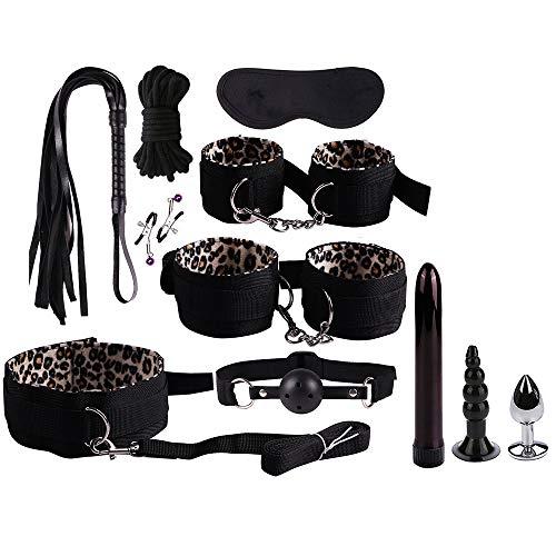 11-teiliges Leder-Kit mit Leopardenmuster für die romantische Nacht