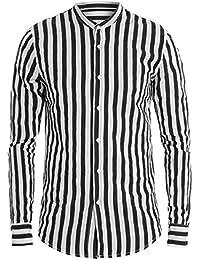 130489fb90 Giosal Camicia Uomo Collo Coreano Righe Nera Bianca Manica Lunga Cotone  Rigata Casual
