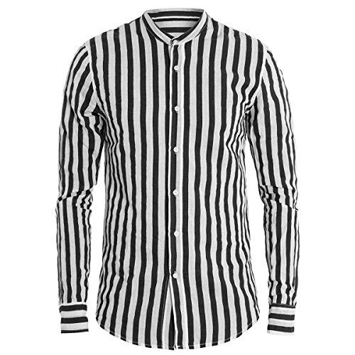 Giosal camicia uomo collo coreano righe nera bianca manica lunga cotone rigata casual c1418a-nero-m