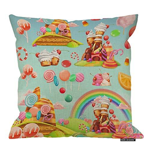 Magictop Candy Kissenbezug, Cartoon Spiel Sweet Candy Land Design Baumwolle Leinen Polyester Dekorative Wohnkultur Sofa Couch Schreibtisch Stuhl Schlafzimmer 18 X 18