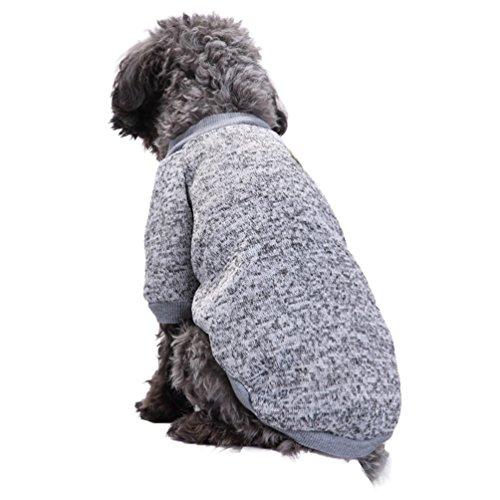 YiJee Haustier Hund Kleidung Kleine Hundchen Klassische Warme Pullover Grau XL