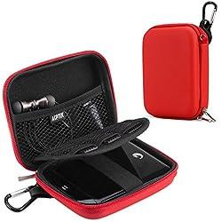 AGPTEK Housse de Protection pour Disque Dur de 2.5pouce, Etui Rigide de Rangement pour Disque, Clé USB, Cable USB, Lecteur mp3(Housse de Rangement Voyage Compatible avec Le mp4 H3, etc- Rouge