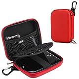 AGPTEK EVA Festplattentasche 2,5 Zoll, Stoßsichere externe Festplatte Tasche für HDD, SSD Power Bank, Speicherkarte und anderes Zubehör, Rot
