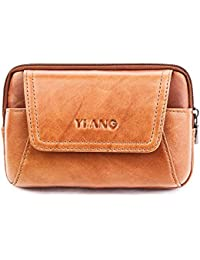 AOLVO Piel auténtica Bolsa de Cintura para Hombres Ajustable Casual cinturón Bolsa de Transporte de Tipo Cartera…