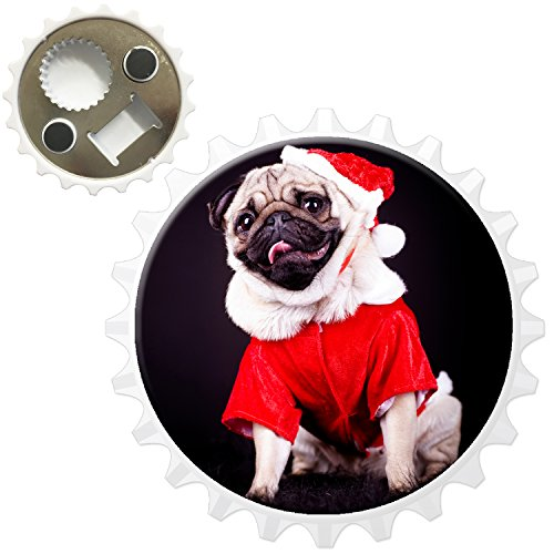 Carlino Pugs Love Little Cani apribottiglie magnete per frigorifero, Santa Pug Ready For Christmas, Bottle (Pug Christmas Stocking)