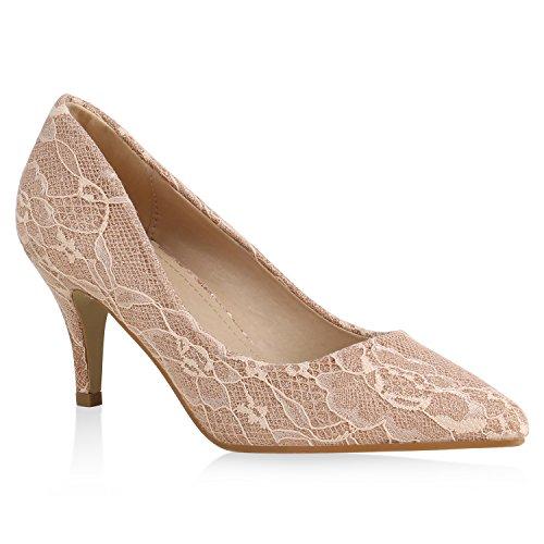 Stiefelparadies Damen Spitze Pumps Glitzer Spitze-Optik Elegante Party Schuhe 159611 Rose Gold 39 Flandell