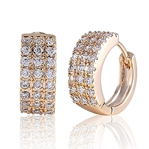 GULICX Ladies Crystal Hoop Huggie Earrings Gold Electroplated White Clear Cubic Zirconia