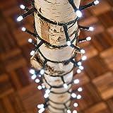 Guirnalda 12,5 m, 300 LED luz fría, con juego de colores, cableado verde, EX Best Value, luces de Navidad, luces para el árbol de Navidad, luces navideñas