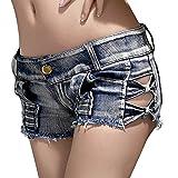 Dorekim Frauenweinlese Niedrige Taille Denim Kurze Jeans Hot Pants DK755 (L)
