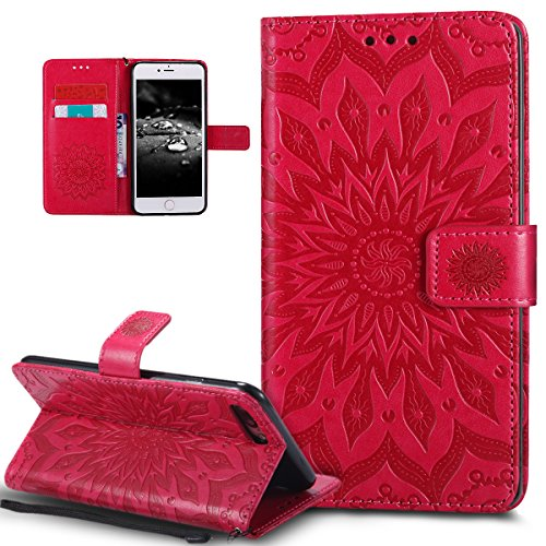 Custodia iPhone 7 Plus, iPhone 7 Plus Cover, ikasus® iPhone 7 Plus Girasole di Emboss Custodia Cover [PU Leather] [Shock-Absorption] Protettiva Cover Custodia in pelle verniciata Modello con Super Sot Rosso