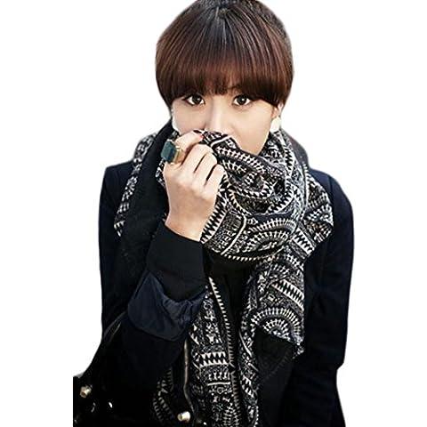 Malloom® 2015 otoño e invierno Señora Mujeres Vintage largo Soft Impreso Bufandas del abrigo del mantón de la bufanda (negro)