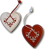 12 tlg. Set Weihnachtsbaumschmuck Christbaumschmuck Holz-Figuren Aufhänger Baumschmuck Holzhänger Holz Ornamente Silhouette rot-weiß (Motiv: Herz)