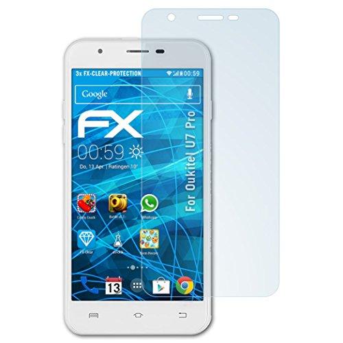 atFolix Schutzfolie kompatibel mit Oukitel U7 Pro Folie, ultraklare FX Bildschirmschutzfolie (3X)