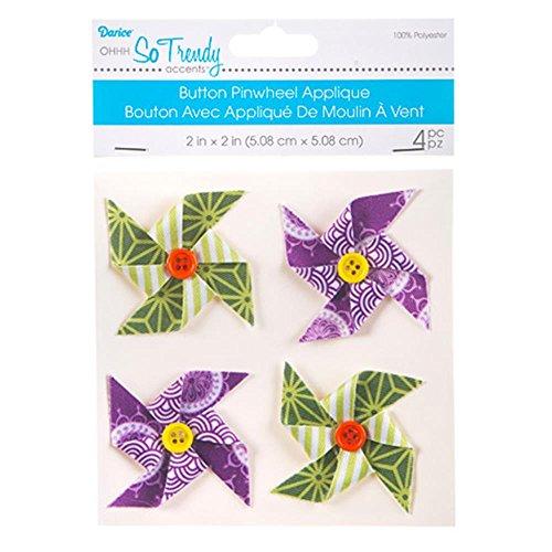 Darice violett und grün Pinwheel Knopf Applikationen: 4, 5,1x 5,1cm -
