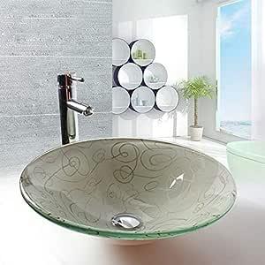 Shuicao Kunstlerische Runde Waschbecken Aus Gehartetem Glas Waschbecken Waschschussel Wasserhahn Und Pop Up Ablauf Combo Amazon De Kuche Haushalt