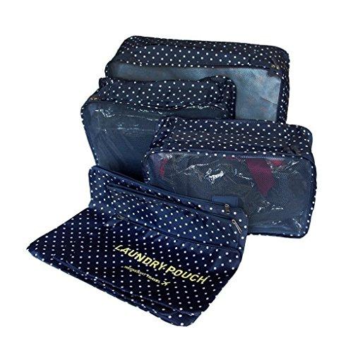 ubagoo Set di 6cubetti di imballaggio bagagli Organizer Borse da viaggio Travel Essentials cosmetici biancheria intima vestiti scarpe Storage Bag Pouch Organizer blu Deep Blue